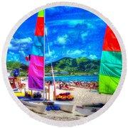 Tropical Sails Round Beach Towel