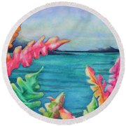 Tropical Scene Round Beach Towel