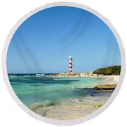 Tropical Seascape With Lighthouse Round Beach Towel