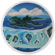 Round Beach Towel featuring the painting Tropical Skies by Dianna Lewis