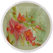 Round Beach Towel featuring the painting Tropical Splash by Judith Rhue