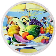 Tropical Still Life Round Beach Towel