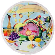 Tropical Still Life For A Cuban Cubist Round Beach Towel