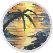 Tropical Sun Round Beach Towel