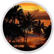 Round Beach Towel featuring the photograph Tropical Sunset In Blues by Jocelyn Friis