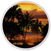 Tropical Sunset In Greens Round Beach Towel