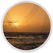 Tropical Sunset In Kauai Round Beach Towel