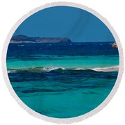 Round Beach Towel featuring the photograph Tropical Umbrella by Don Schwartz