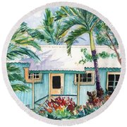 Round Beach Towel featuring the painting Tropical Vacation Cottage by Marionette Taboniar
