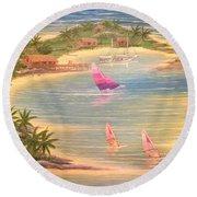 Tropical Windy Island Paradise Round Beach Towel