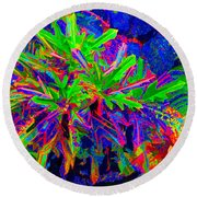Round Beach Towel featuring the photograph Tropicals Gone Wild by David Lawson