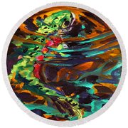 Trout And Fly II Round Beach Towel by Savlen Art
