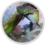 Trout And Fly Round Beach Towel