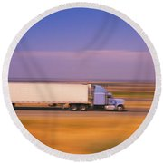 Truck And A Car Moving On A Highway Round Beach Towel