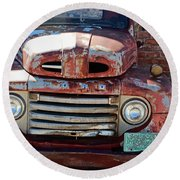 Round Beach Towel featuring the photograph Ford In Goodland by Lynn Sprowl