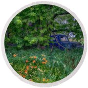 Truck In The Forest Round Beach Towel