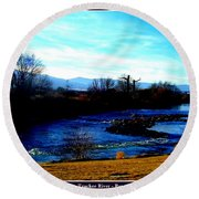 Round Beach Towel featuring the photograph Truckee River In Motion by Bobbee Rickard