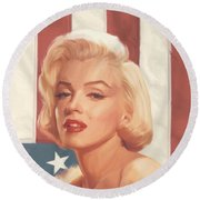 True Blue Marilyn In Flag Round Beach Towel by Chris Consani