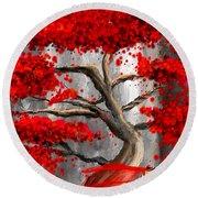 True Love Waits - Red And Gray Art Round Beach Towel
