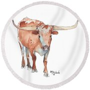 Square Walking Tall Texas Longhorn Watercolor Painting By Kmcelwaine Round Beach Towel by Kathleen McElwaine