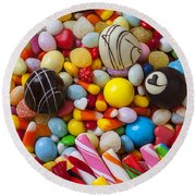 Truffles And Assorted Candy Round Beach Towel