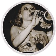 Round Beach Towel featuring the photograph Trumpet Lady by Alice Gipson