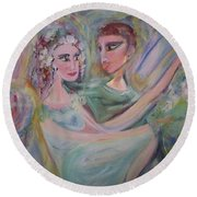 Round Beach Towel featuring the painting Trust Me On This by Judith Desrosiers
