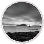 Trwyn Du Lighthouse 1 Round Beach Towel