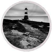 Trwyn Du Lighthouse 2 Round Beach Towel