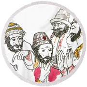 Tsar And Courtiers Round Beach Towel