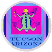 Tucson Arizona Shaman Round Beach Towel by Vagabond Folk Art - Virginia Vivier