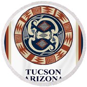 Tucson Arizona  Round Beach Towel by Vagabond Folk Art - Virginia Vivier