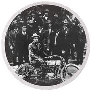 Tucson Police Department  On Steps Of City Hall With 1st Police Motorcycle C. 1917 Tucson Arizona Round Beach Towel