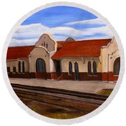 Tucumcari Train Depot Round Beach Towel