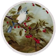 Tufted Titmouse Round Beach Towel by Rick Bainbridge