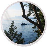 Round Beach Towel featuring the photograph Tugboat Passes by Lorraine Devon Wilke