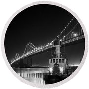 Tugboat Under The Bay Bridge Round Beach Towel