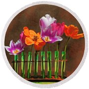 Tulip Experiments Round Beach Towel by Jeff Burgess