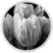 Tulip Flowers Black And White Round Beach Towel