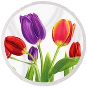 Tulip Garden On White Round Beach Towel