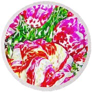 Round Beach Towel featuring the photograph Tulip Infusion by Zafer Gurel