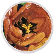 Round Beach Towel featuring the painting Tulip Swirl by Barbara Jewell