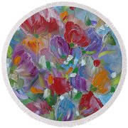 Round Beach Towel featuring the painting Tulip Symphony by Judith Rhue