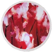 Round Beach Towel featuring the painting Tulip Twist by Sandra Strohschein