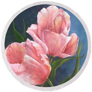 Round Beach Towel featuring the painting Tulip Waltz by Sherry Shipley