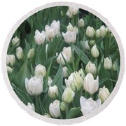 Tulip White Show Flower Butterfly Garden Round Beach Towel by Navin Joshi