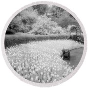 Tulips And Bench II Round Beach Towel