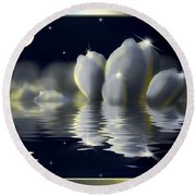 Tulips And Moon Reflection Round Beach Towel