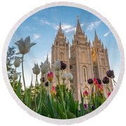 Tulips At The Temple Round Beach Towel by Dustin  LeFevre