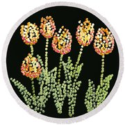 Tulips Bedazzled Round Beach Towel